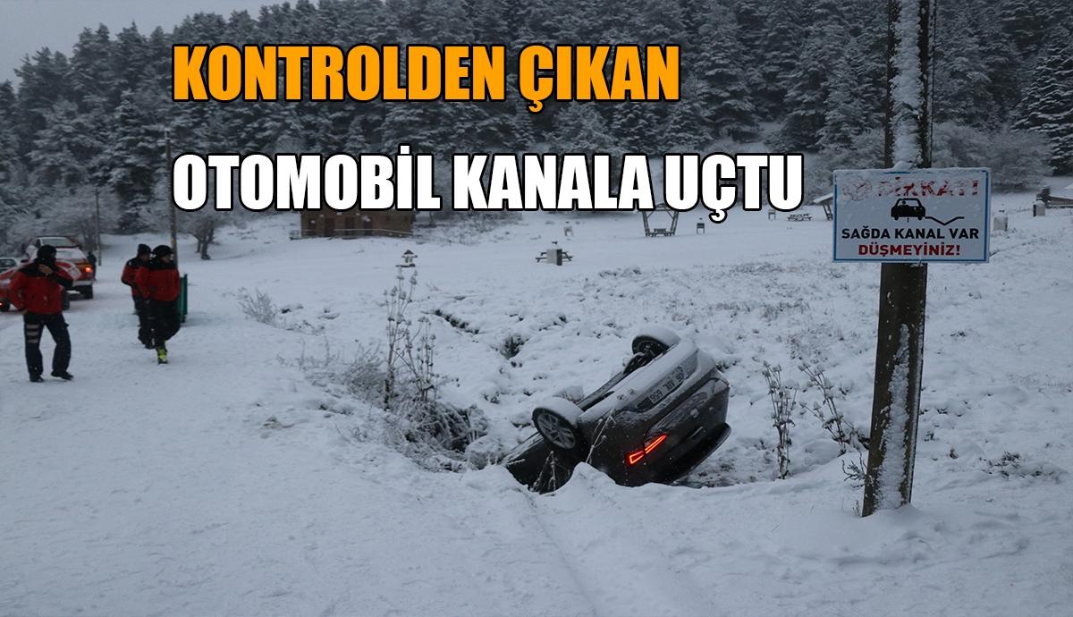 KONTROLDEN ÇIKAN OTOMOBİL KANALA UÇTU